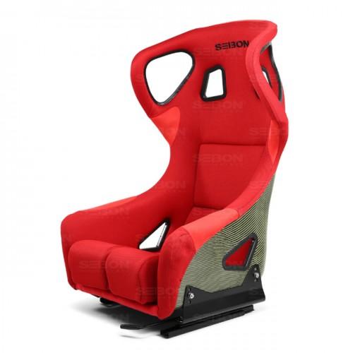 FC款式碳纖Kevlar賽車椅 - 紅  (帶耳朵)