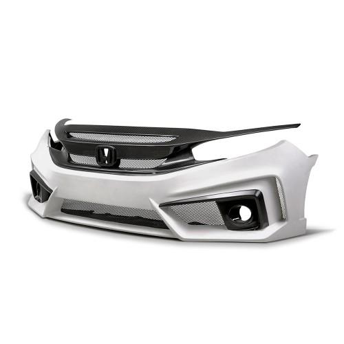 2016-2019年本田CIVIC四門的TT款式玻璃纖維/碳纖維前保險杠*