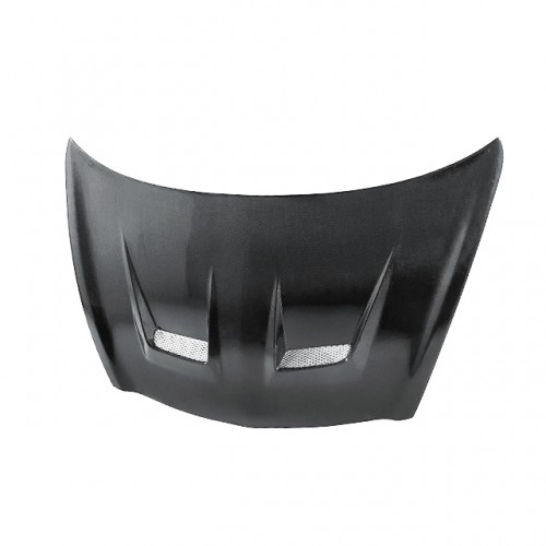DV-style carbon fiber hood for 2007-2008 Honda Fit (straight weave)